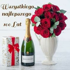 Bollinger Champagne, Rose Gift, Name Day, Truffles, Red Roses, Happy Birthday, Vase, Table Decorations, Bottle