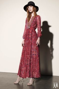 """Joie """"Minerala B"""" long dress in paisley-print chiffon from the runway collection"""