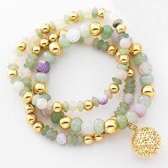 Pulsera con 4 baños de oro de 18 kl y piedras de agata en varios colores.
