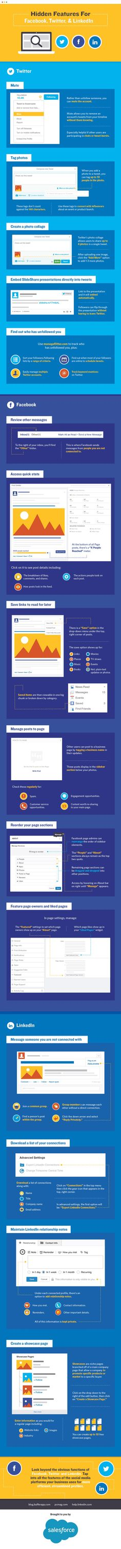 Facebook, Twitter, LinkedIn: Hidden Social Media Features You Should Know - Infographic