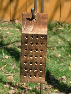 Mason bee house! ♥ Mason bees are very docile bees because they do not make honey or have a queen to protect. They are big time pollinators!