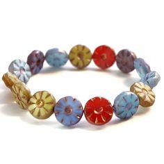 Mix of opaque Czech picasso flower beads, 13mm