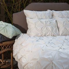 Great site for designer bedding | The Valencia Natural off white pintuck duvet cover