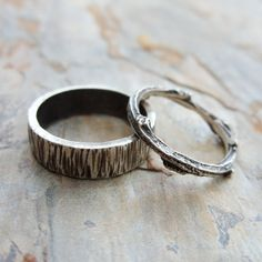 Personalized Matching Tree Bark and Twig Wedding Ring Set by brightsmith