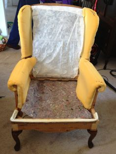 make bake & love: Re-Upholstering a Wing Back Chair, Part 1: Taking it Apart