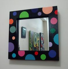 ARTECOLOR OBJETOS: ESPEJOS HECHOS Y PINTADOS A MANO 30X 30 CM Mirror Painting, Mirror Art, Painting Frames, Picture Frame Crafts, Picture Frames, Diy Wall Decor For Bedroom, Mirror Makeover, Tangle Art, Mirror Mosaic