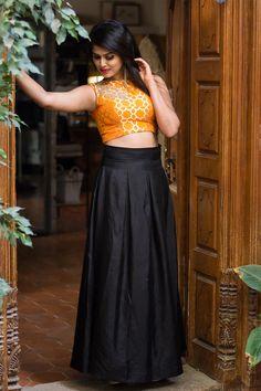 Black semi matka silk box pleated skirt #basics #black #skirt #lehenga
