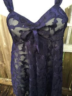 02caca146b VINTAGE VICTORIAS SECRET Navy Satin Sheer Jacquard Floral NightGown Chemise  Sz M