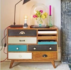Amazing Upcycle Chest of Drawers - love the wood color mixed with the black, white, and teal