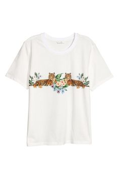 Appliquéd T-shirt - Natural white - Ladies | H&M GB 1