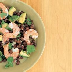 Black Beans and Avocado with Shrimp - I'm not using canned black beans and added in a little garlic...turned out awesome