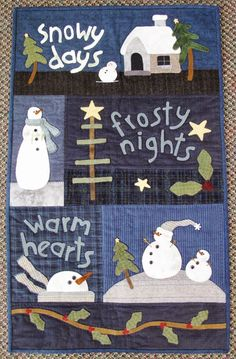 Woolie Mammoth…I just love this with the snow scenes, snowmen, holly leaves, v… – 2019 - Wool Diy Christmas Patchwork, Christmas Applique, Christmas Sewing, Christmas Projects, Christmas Quilting, Wool Quilts, Applique Quilts, Wool Applique, Small Quilts