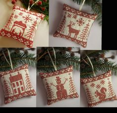 Set of 5 Cross Stitched Folk Art Ornaments - nativity, deer, house, snowman, squirrel.