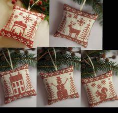 Set of 5 Cross Stitched Folk Art Ornaments - nativity, deer, house, snowman, squirrel.