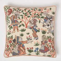Designed by C.F.A. Voysey, Alice Cushion is taken from a 1920s furnishing fabric based on the original illustration by Sir John Tenniel for Lewis Carroll's Alice's Adventures in Wonderland. . . . . . #needlepoint #needlecraft #acolorstory #colorhunters #abmlifeiscolorful #abmhappylife #pasteloftheday #colorlove #instacolor #instacolouroftheweek #flashesofdelight #creativemind #creativehappylife #inspiration #inspiremyinstagram #thatsdarling #darlingmovement #persuepretty #petitjoys Needlepoint Pillows, Needlepoint Kits, Adventures In Wonderland, Alice In Wonderland, Tapestry Kits, Textiles Techniques, Victoria And Albert Museum, Design Museum, Needlework