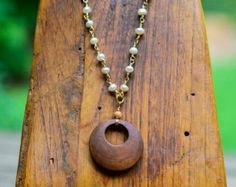 Elegant and Edgy Real Pearl Linked Beaded Necklace with Wooden Circle Pendant