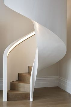 Ideas White Stairs Diy Basement Steps For 2019 Tile Stairs, Concrete Stairs, Wooden Stairs, House Stairs, Painted Stairs, Curved Staircase, Modern Staircase, Stair Railing, Staircase Ideas