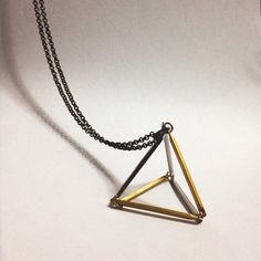 Triangle necklace 3D design geometric minimal jewelry, Bar Tubes Gold,... ($35) ❤ liked on Polyvore featuring jewelry, gold and silver jewelry, blue gold jewelry, antique silver jewellery, antique gold jewellery and antique jewelry