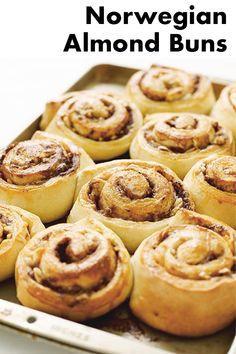 Auntie Gunnvor's Norwegian Skillingsboller Almond Buns Marzipan Recipe, Heritage Recipe, Sweet Paul, Sweet Buns, Scandinavian Food, Good Food, Yummy Food, Famous Recipe, Puff Pastry Recipes
