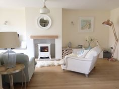 Bringing a coastal theme to life with a duck egg palette and log burner fire Cream Living Rooms, Cottage Living Rooms, Coastal Living Rooms, Home Living Room, Living Room Decor, Living Spaces, Log Burner Living Room, Log Burner Fireplace, Fireplace Ideas