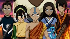 Avatar: The Last Airbender - Sokka, Toph, Aang, Katara, Zuko and Appa Avatar Aang, Avatar Airbender, Team Avatar, Zuko, Fan Art Avatar, Legend Of Aang, Die Simpsons, Avatar Series, Fire Nation