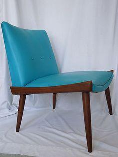 Mid Century Teak Lounge Slipper Chair Danish Modern Eames Era 1950s 1960s Vtg