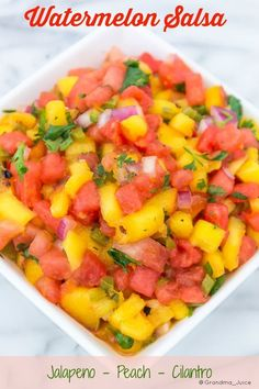 Spicy Watermelon Salsa Recipe | Grandma Juice Blog Grilled peaches, Watermelon, Jalapeno and Cilantro! Sweet, spicy PERFECT!