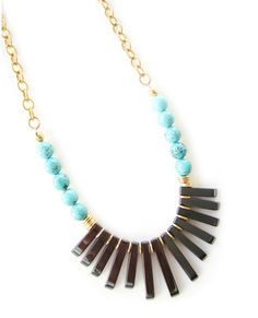Turquoise Beaded Fan Necklace