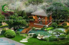 canh-quan-dep-58 copy Backyard Fort, Ponds Backyard, Tropical Garden Design, Japanese Garden Design, Garden Wall Designs, Cool House Designs, House Landscape, Landscape Design, Outdoor Ponds