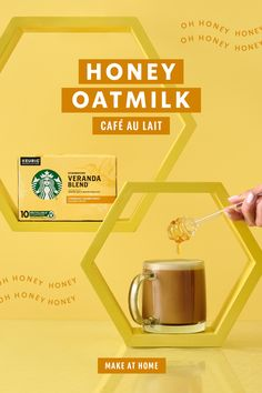 Add a drizzle of delicious to your morning with a sweet and creamy coffee. Make the café-inspired Honey Oatmilk Café Au Lait at home for a perfect start to your day. Fun Baking Recipes, Coconut Recipes, Tea Recipes, Coffee Recipes, Dairy Free Recipes, Starbucks Drinks, Starbucks Coffee, Fun Drinks, Yummy Drinks