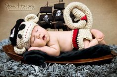 Ravelry: Newborn Pirate Sock Monkey Hat and Diaper Cover Set pattern by Michelle Nash - not free