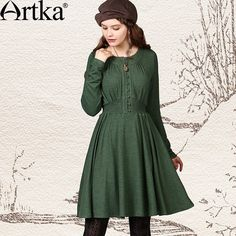 Artka Women's Autumn Vintage O-Neck Full Sleeve Solid Slim Single Breasted Pleated Brief Expansion Bottom Dress ZA10746Q Green via Artka. Click on the image to see more!