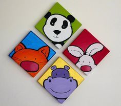 CUADRO ANIMALES ACRILICO Kids Canvas Art, Small Canvas, Kids Room Art, Art For Kids, Painted Rocks, Hand Painted, Cute Animal Illustration, Country Paintings, Button Art