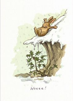 Anita Jeram's WEEE illustration.  But is he about to land on that holly?-- Michael McClintock