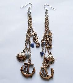 Little Mermaid Earrings, Mermaid Earrings, Seahorse Earrings, Shell earrings, Chain Earrings, Charm Earrings, bohemian earrings