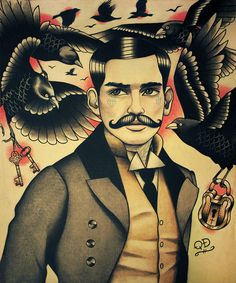 Inspiration for ink. Crows and Tattooed Man with Moustache Art Print. $22.00, via Etsy.