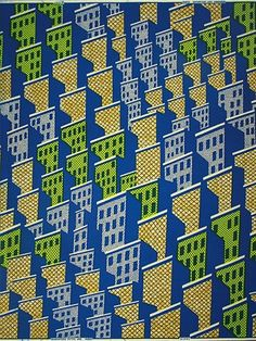 Conversational buildings African wax printed fabric from Vlisco Holland