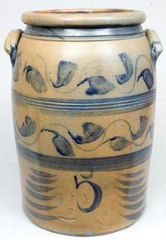 Five-gallon cobalt stoneware crock. - Stamped BOUGHNER / GREENSBORO / PA, circa 1855.