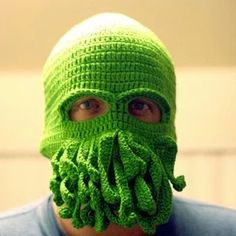 Handmade Cthulhu Ski Mask made with 20% egg protein yarn - fits Teen or Adult female
