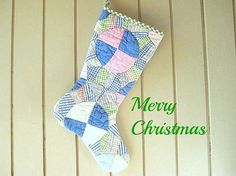 Christmas Stocking Vintage Quilt 1930s Quilt Lime by CUSHgoods