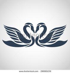 swan logo vector - stock vector