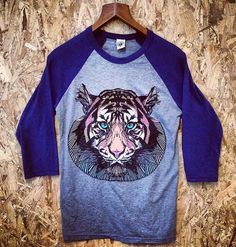 Tiger Raglan T-Shirt Baseball featuring design by graphic artist Luke Dixon available from The BearHug Company Raglan Tee, Graphic Sweatshirt, T Shirt, Baseball, Sweatshirts, Tees, How To Wear, Stuff To Buy, Hug