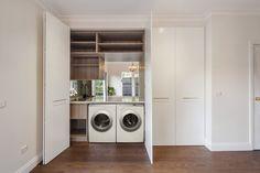 Mont Albert - Laundry After Hidden Euro Laundry White 2Pac doors with Brass hardware Mirror Splashback