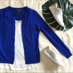 """Bloomingdales Cashmere Cobalt Cardigan This beautiful cashmere cardigan is a deep cobalt shade of blue. Great condition! Bust (underarm to underarm): 16"""" Length: 23"""" Make me an offer! Bloomingdales Sweaters Cardigans"""