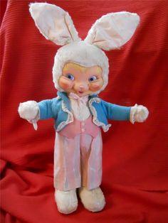 Vintage Rubber Face Rushton Like / Gund Plush Bunny 1950's