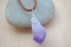 Full Moon Amethyst Point Pendant Cord Included by TreeOfLifeShop, $30.00