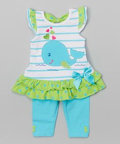Look at this #zulilyfind! Blue Dolphin Tunic & Leggings - Infant, Toddler & Girls #zulilyfinds