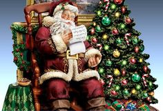 santa trim Santa Suits, Thomas Kinkade, Christmas Tree, Christmas Ornaments, Christmas Pictures, Dolls, Holiday Decor, Image Search, Spirit