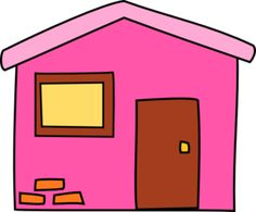 Pink House  Clip Art Blue Houses House  Public Domain Felt Crafts