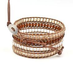 Beautiful Crystal Bead Leather Wrap Bracelet
